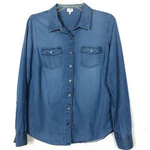 Crown & ivy | Blue Jean Chambray Top